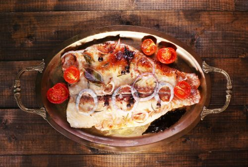 Pangasius fillets with cherry tomatoes