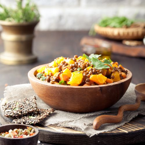 Pumpkin ragout with lentils
