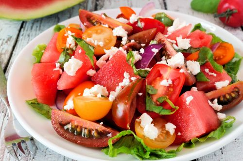 Salad with watermelon and tomatoes