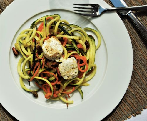 Zoodles with goat cream cheese